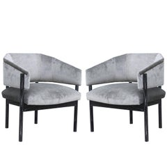 Pair of Custom-Made Velvet and Black Cerused Lounge Chairs