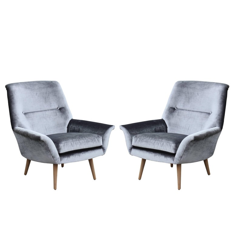 Pair of Modern Italian Sculptural Silver Gray Lounge Chairs