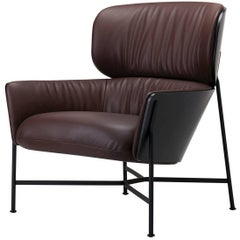 Caristo Low Back Armchair Uph. in Leather or Fabric with Ashwood Shell