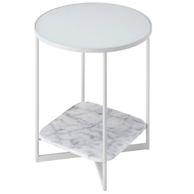 Mohana Table Small with a Glass Top, Lower Marble Shelf and Steel Frame