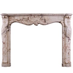 Louis XV Antique Fireplace in Variegated Marble