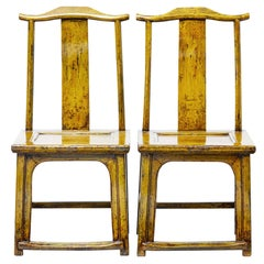 Pair of 19th Century Chinese Yellow Lacquered Chairs