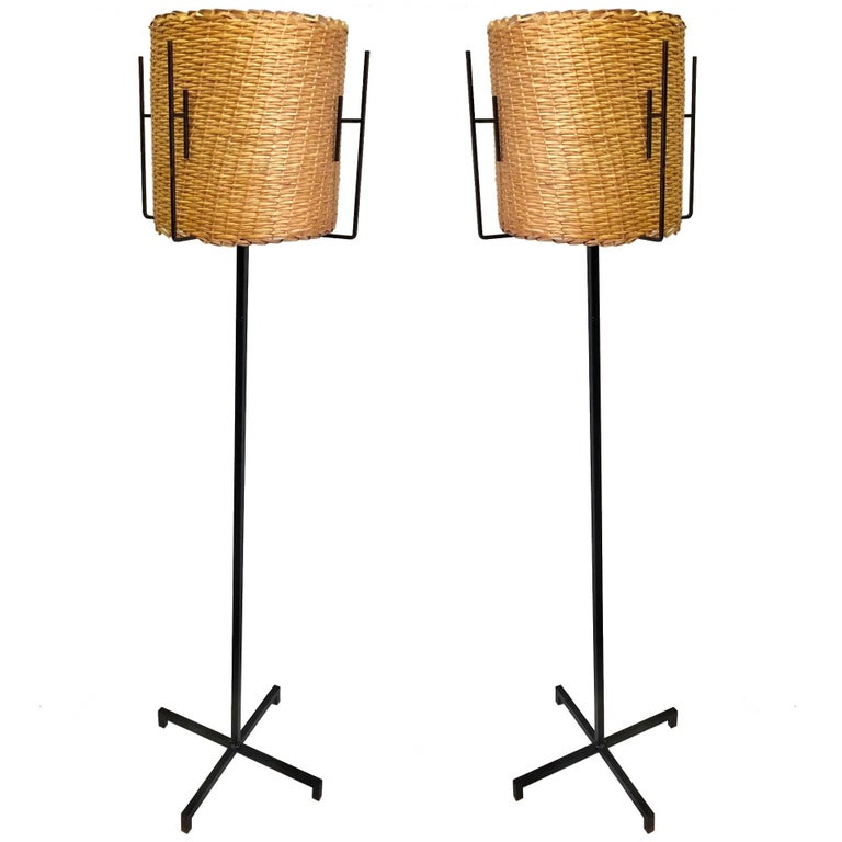 Pair of French Mid-Century Modern Wrought Iron Floor Lamps by Disderot