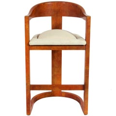 Karl Springer Lacquered Goatskin Bar Stool