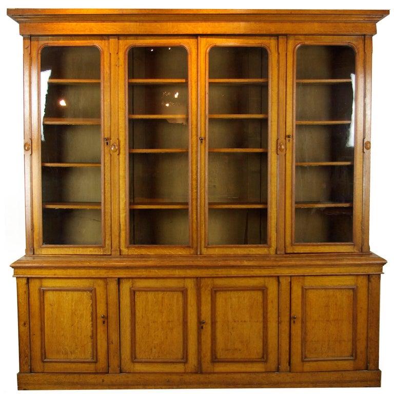 antique oak bookcase library bookcase tiger oak bookshelves 1870 b1043 for sale - Library Bookshelves