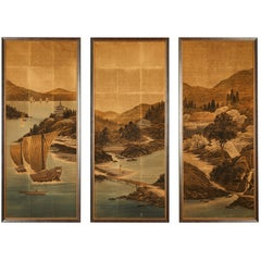 Japanese Painted and Voided Velvet Textile Panels