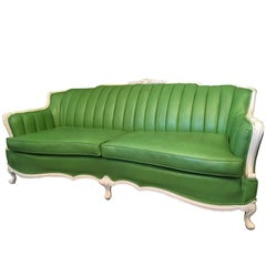 Dorothy Draper Style Green Leather French Provincial Sofa