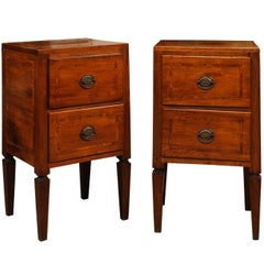 Pair of Early 19th Century Italian Inlaid Walnut Commodini