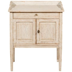 Swedish Painted Gustavian Nightstand Table with Drawer and Door, circa 1825