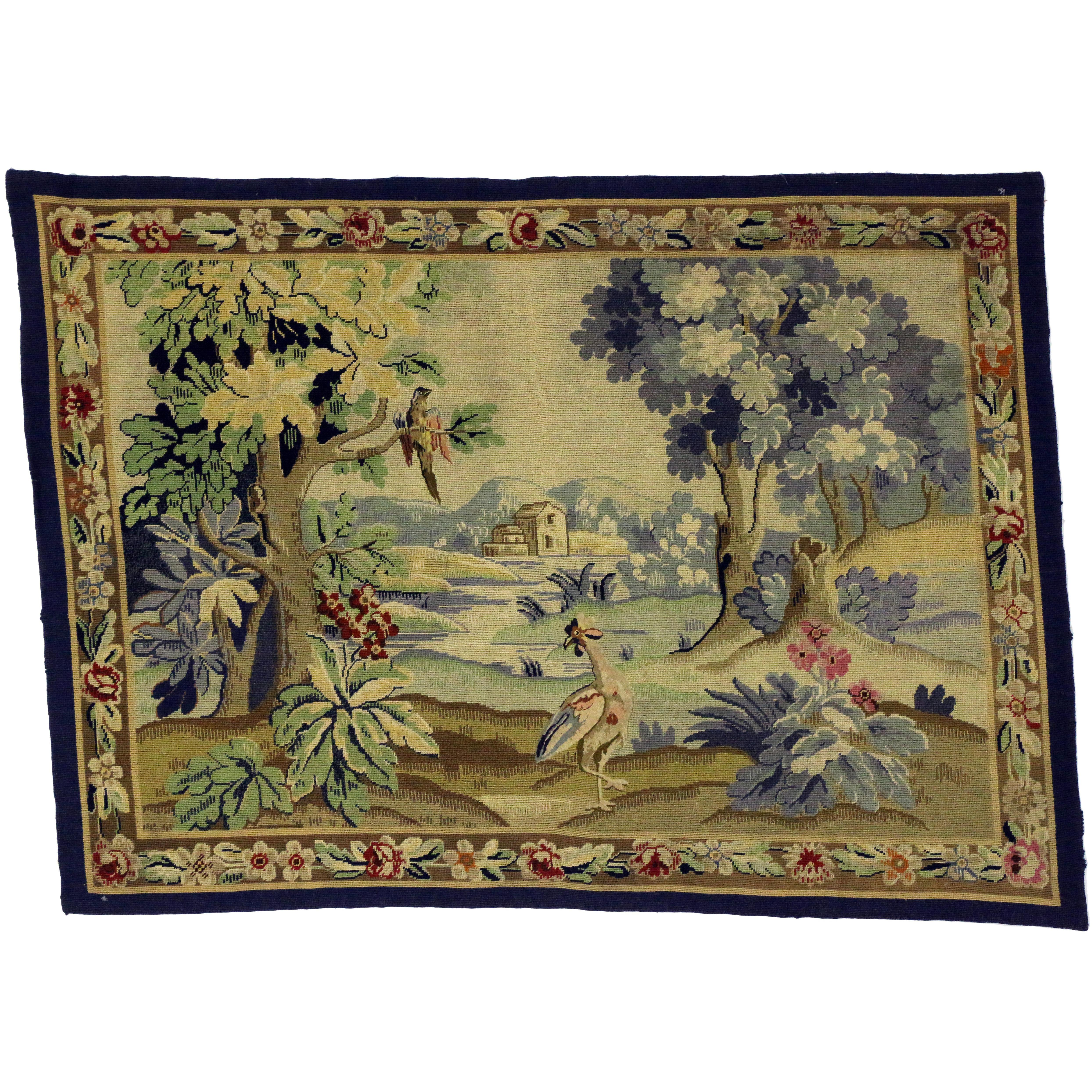 Antique English Needlepoint Aubusson Verdure Garden Tapestry Wall Hanging  For Sale