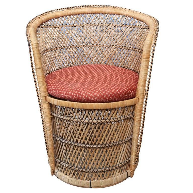 Vintage Woven Rattan Peacock Chair