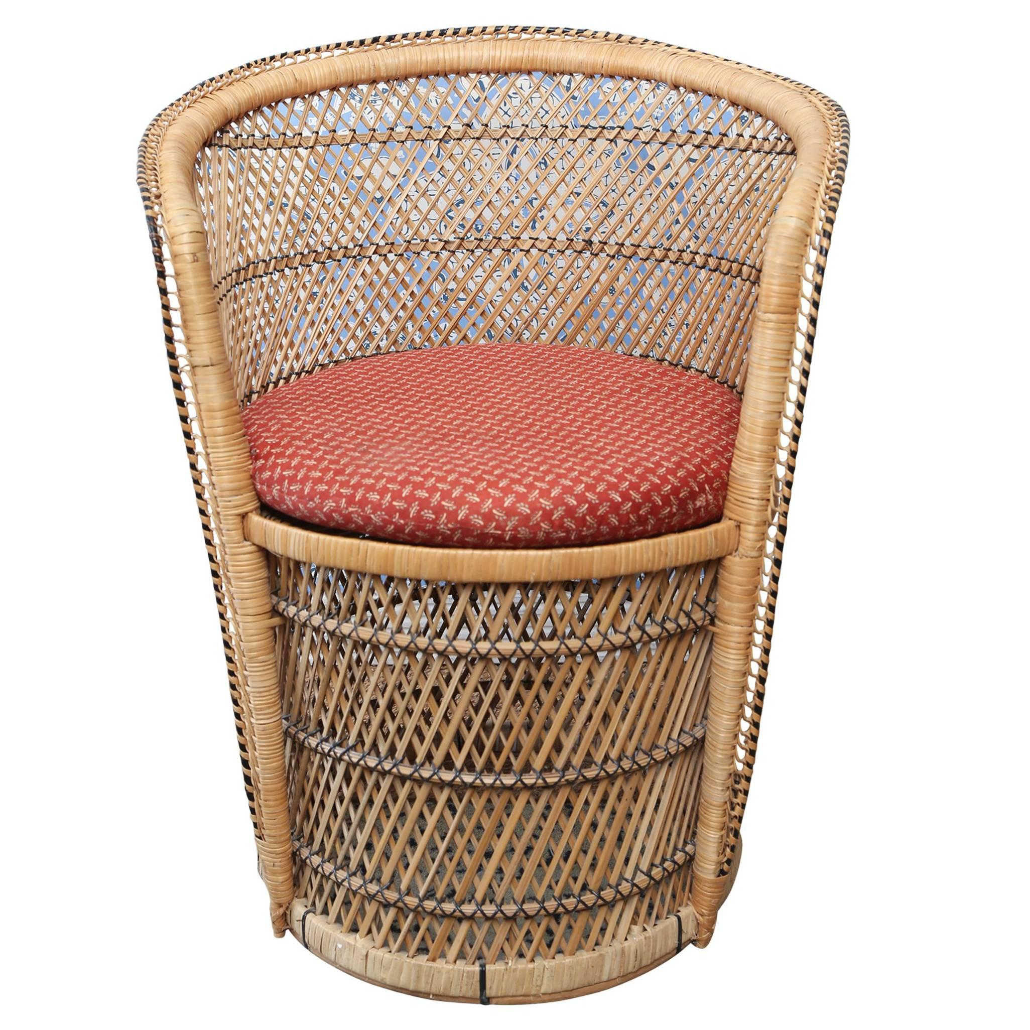 Vintage Woven Rattan Peacock Chair For Sale