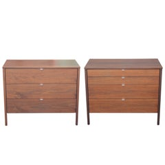 Pair of Modern Clean Lined Knoll Walnut Bachelor's Chests