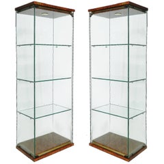 Pair of Pierre Vandel Vitrines French Midcentury Illuminated Showcase Cabinets
