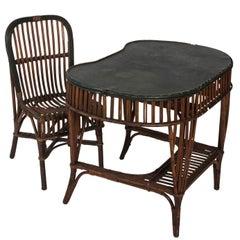 Stick Wicker Victorian Desk and Chair