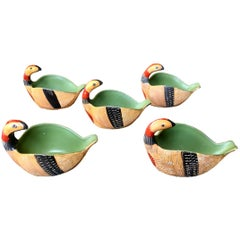 Set of Five Italian Ceramic Bird Bowls