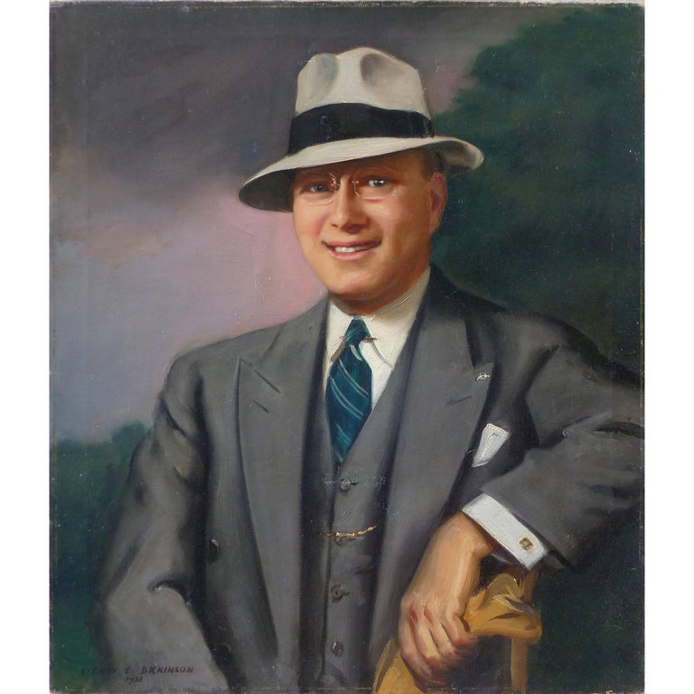 1933 Oil on Canvas Portrait by the Well Listed Artist Sidney E. Dickinson