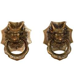 Pair of Brass Dragon Door Knockers