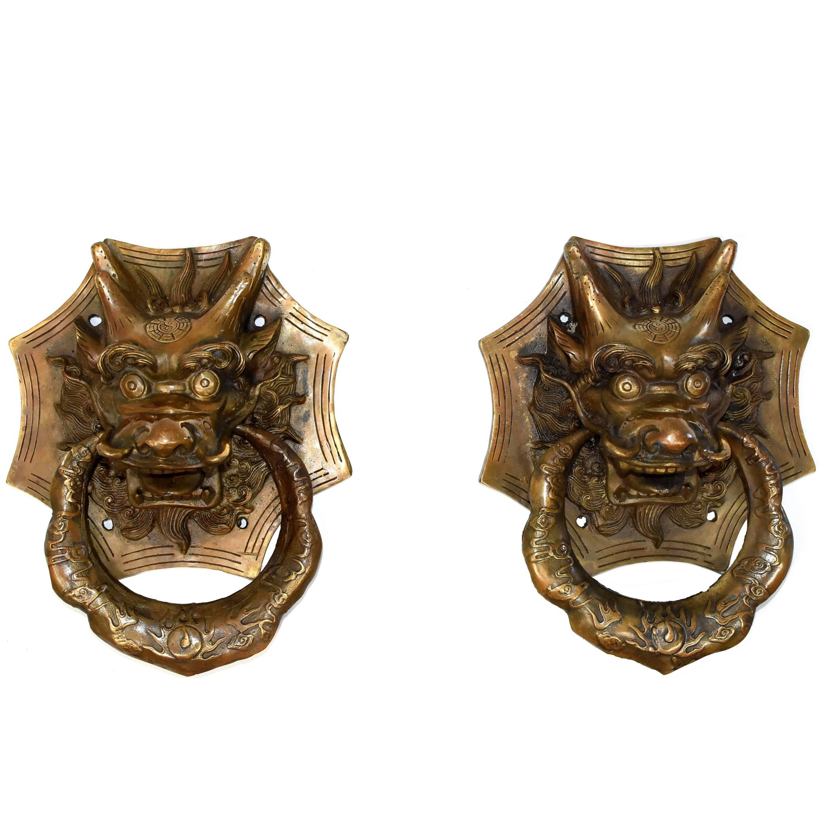 Pair Of Brass Dragon Door Knockers For Sale