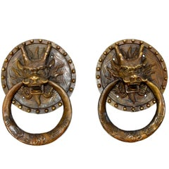 Pair of Brass Door Knockers, Dragon with Round Plates