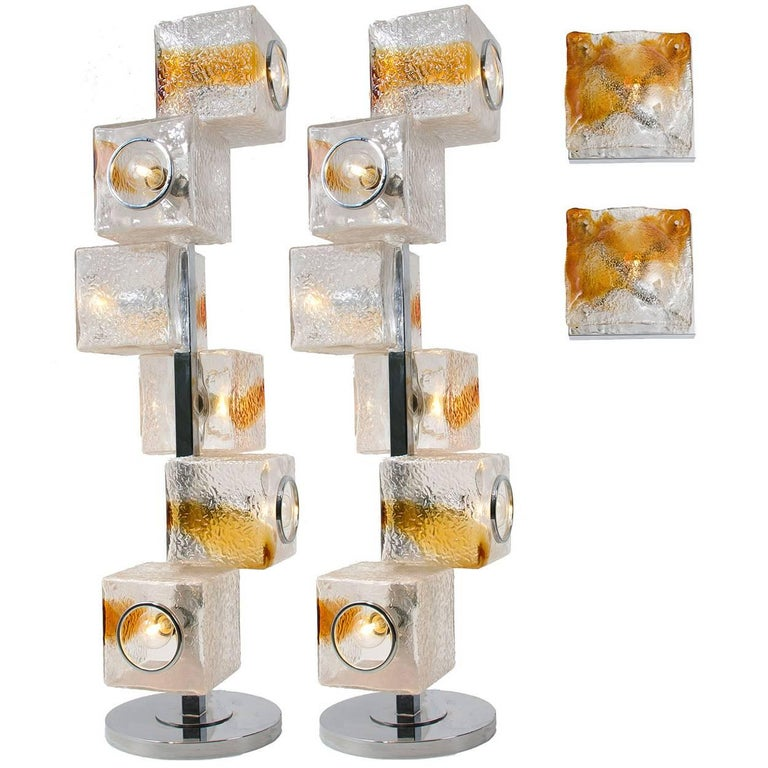 Four Mazzega and VeArt Light Fixtures Two Wall Sconces and Two Floor/Table Lamps