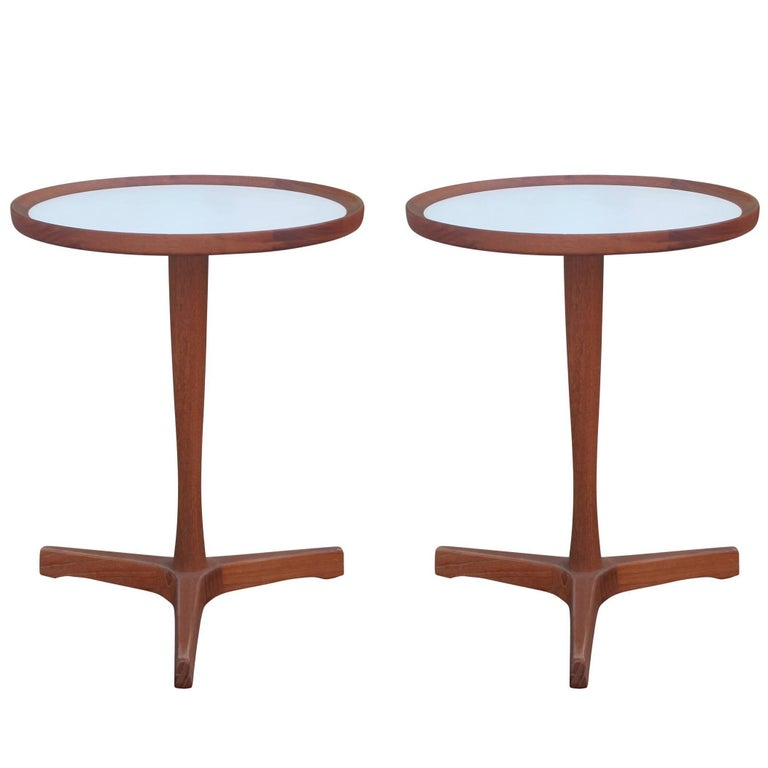 Pair of Modern Round Teak Hans Andersen Side Tables with White Inlays