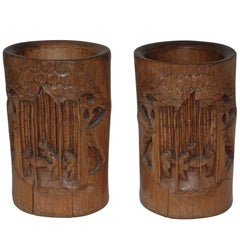 Pair of Hand-Carved Bamboo Brush Pots, Japanese, 19th Century