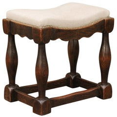 English 1820s Oak Saddle Seat Stool with Baluster Legs and New Upholstery