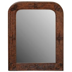 French Wooden Folk Art Mirror from the 1920s with Star and Heart Motifs