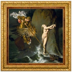 Ruggiero Rescuing Angelica, after Neoclassical Oil Painting by Jean Ingres