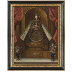 Virgin with Child, After Spanish Colonial Oil Painting by Cuzco Artist