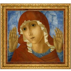 Mother of God, After Expressionist Oil Painting by Kuzma Petrov-Vodkin