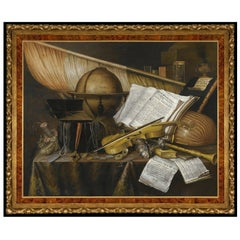 Still Life with Globe, after Grand Tour Oil Painting by Edwaert Collier