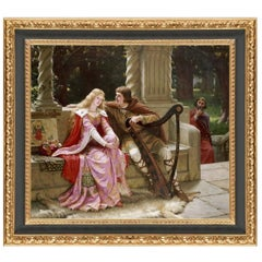 Tristan and Isolde, after Oil Painting by Pre-Raphaelite Artist Edmund Leighton