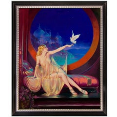 Enchanted Evening, Hollywood Regency Painting by Victor Hugo, after Henry Clive