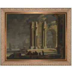 Roman Ruins of Nimes France, after Louis XV Era Oil Painting by Adrien Manglard