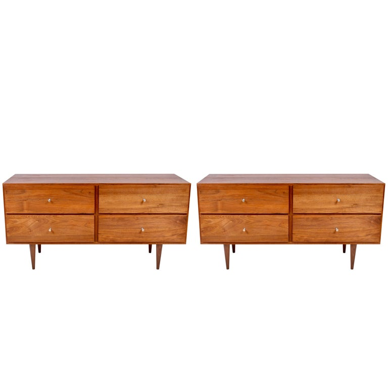 Pair of Paul McCobb Black Walnut Low Four Drawer Dressers or Nightstands, 1960s