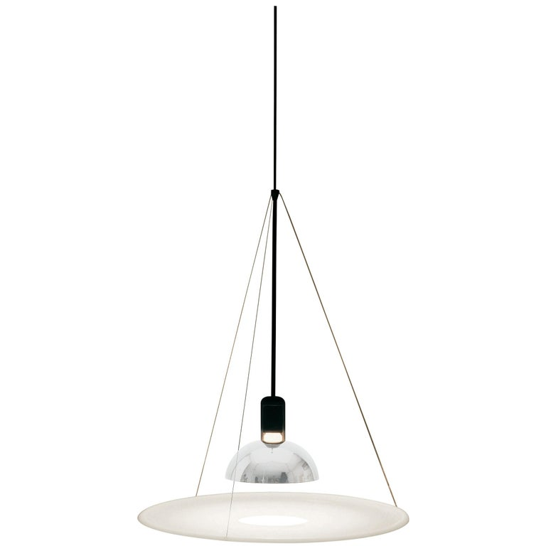 FLOS Frisbi Pendant Light in Nickel by Achille Castiglioni