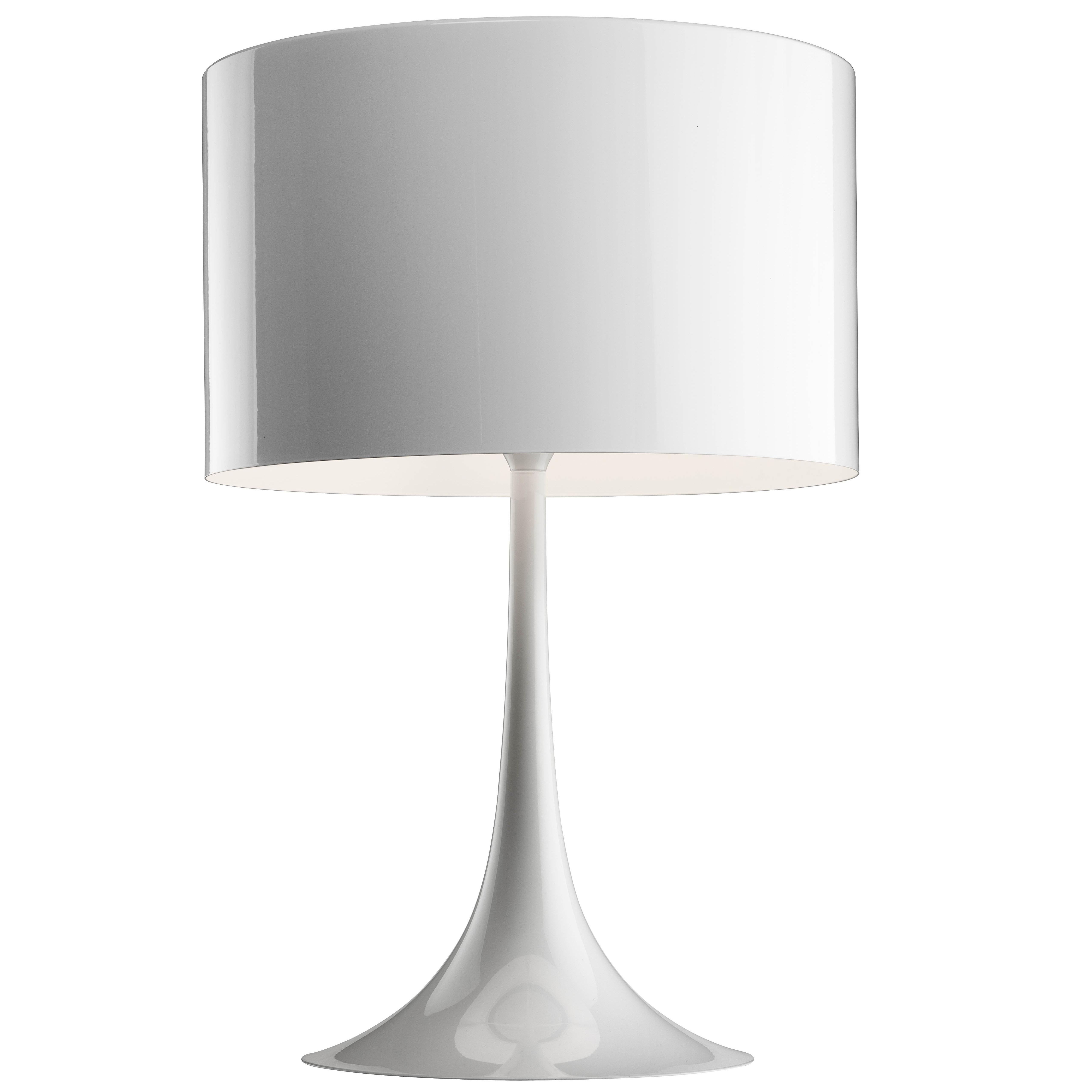 FLOS Spun T1 Halogen Table Lamp In Glossy White By Sebastian Wrong For Sale