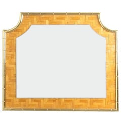 Bamboo Marquetry Brass Mirror Manner of Crespi, Italy, 1950