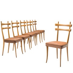 Set of Six Italian Dining Chairs in Beech and Leather