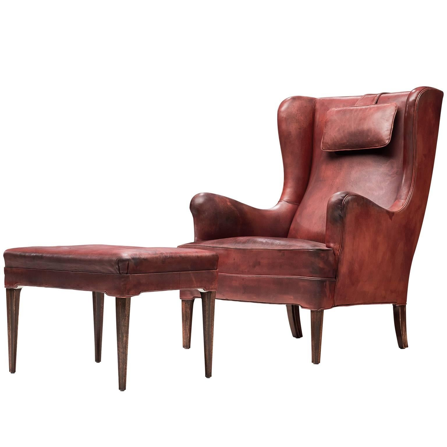 Awesome Fully Restored Frits Henningsen Lounge Chair In Original Leather For Sale