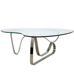 Mid-Century Modern Sculptural Chrome Kidney Glass Coffee Table Pace Era, 1970s