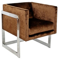 Mid-Century Modern Brown Velvet Chrome Cube Lounge Accent Chair Baughman, 1970s