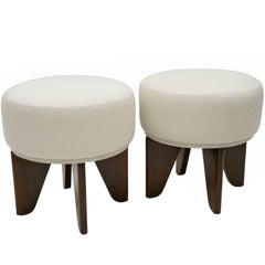 Pair of Circular Poufs with Angled Walnut Feet, Upholstered in Belgian Linen