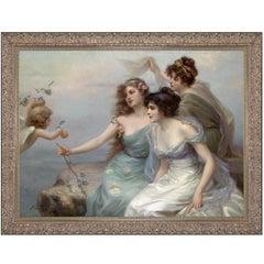 Three Graces, after Oil Painting by Belle Époque Artist Édouard Bisson