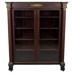 Empire Style Mahogany Locking Double Door Bookcase