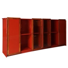 Afra and Tobia Scarpa Italian Maxalto Red Sideboard in Wood, Glass and Rosewood