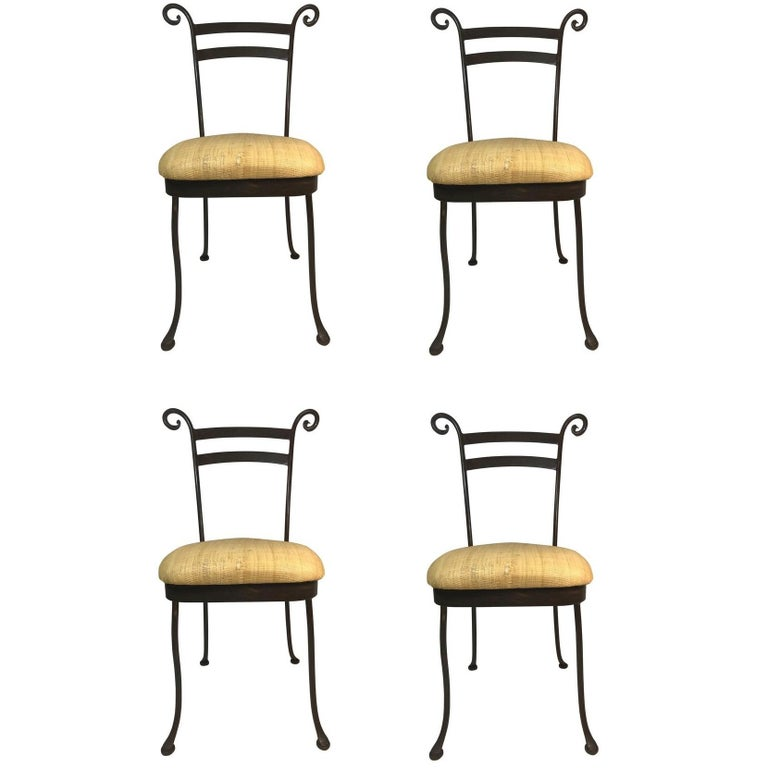Vintage Set of 4 Iron Cafe Dining Side Chairs Handcrafted For Sale