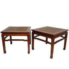 Pair of Chinese Side or End Tables with Woven Panels, Mid-19th Century